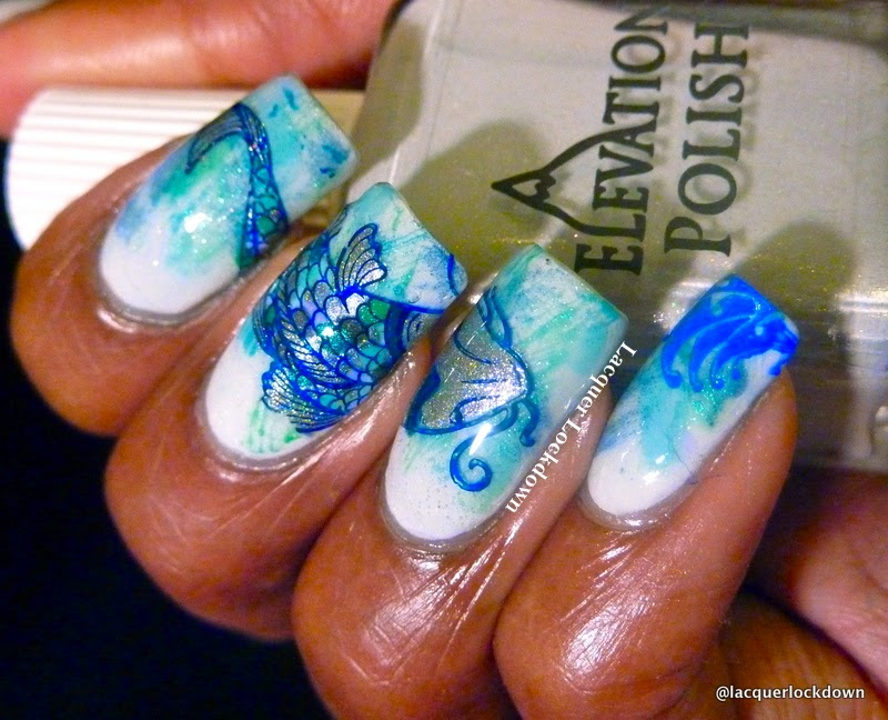 Lacquer Lockdown - Elevation Polish, Elevation Polish The Sea Collection, Elevation Polish Weddell Sea, nail art stamping blog, nail art stamping, Messy Mansion, Messy Mansion MM29, MM29, ocean nail art, sea nail art, fish nail art, koi nail art, distressed nails, stamping, diy nail art, cute nail art ideas