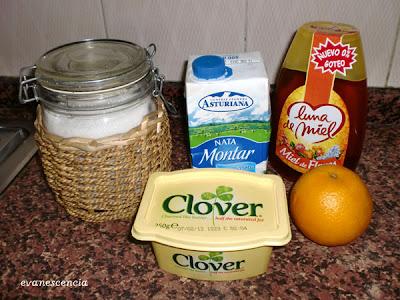 ingredientes salsa de caramelo y naranja