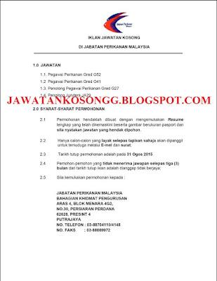 Kerja Kosong Jabatan Perikanan Malaysia