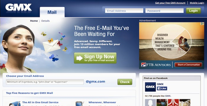 Sign up GMX Email Account for Access Mail Login Page