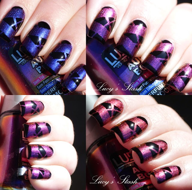 Step By Step Nail Art Using Tape: Exciting Tape Manicure Nail Art Design Step By Step