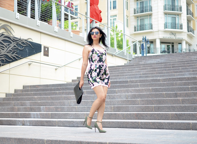 Multi Color Floral Print Romper