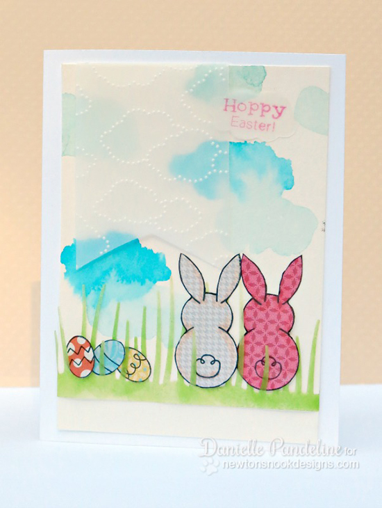 Hoppy Easter card with Bunnies by Danielle Pandeline | Bunny Hop Stamp set by Newton's Nook Designs
