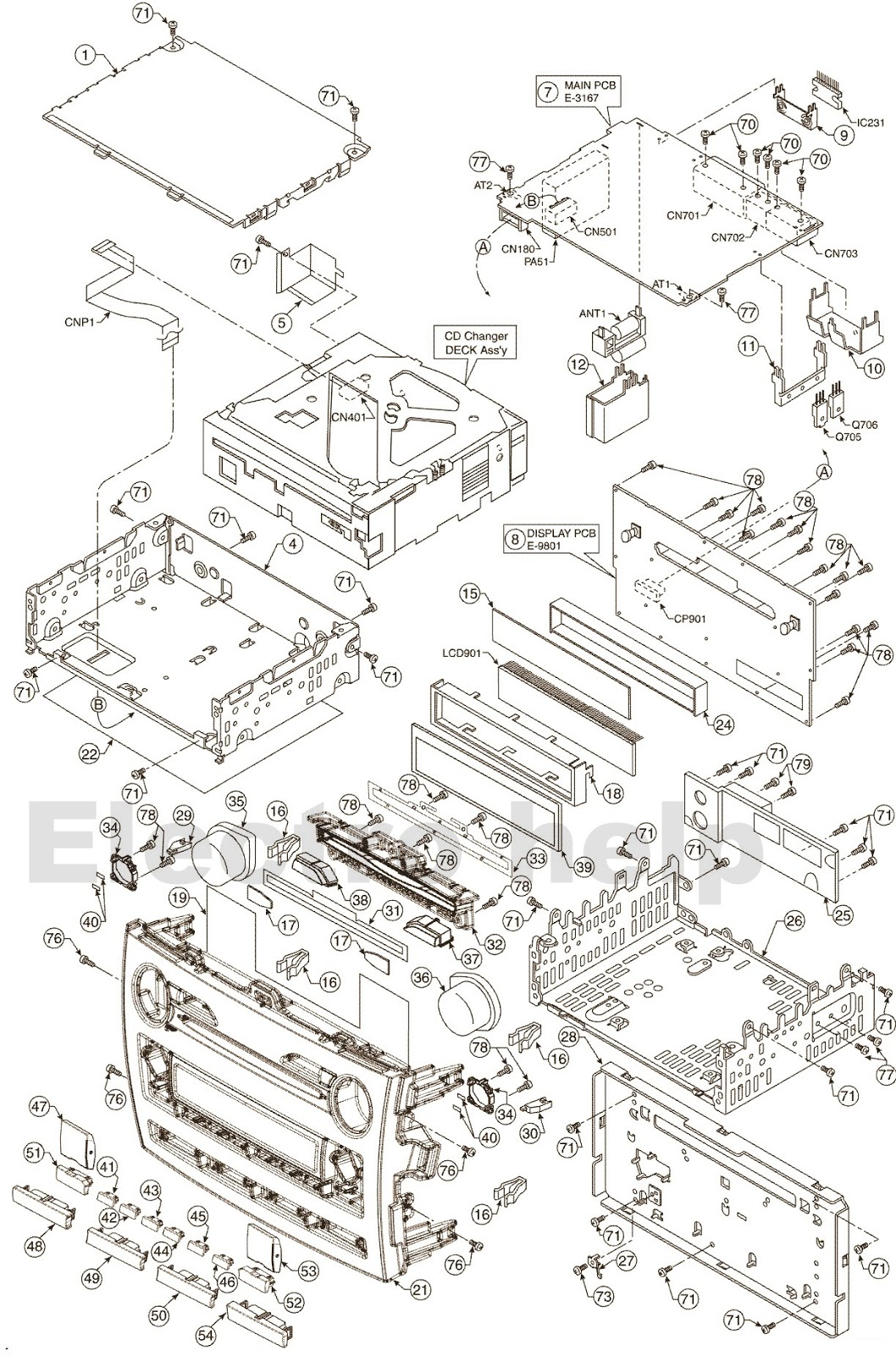 Toyota Corolla Cq Es7880az Circuit Diagram And Connection Details Also Headset Lifier Test Simplified Schematic Diagrams Main Block Display