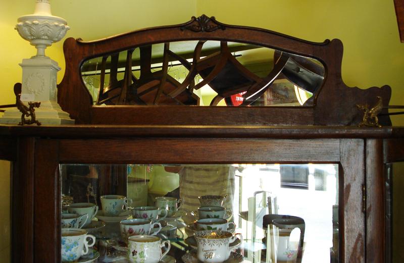China Display Cabinet With Mirrored Back And Bottom Drawer 1/4 Cut Oak  (Original Finish) - Custom Antiques: Jam Cupboard ~ China Display Cabinet ~ Horseshoe Clock