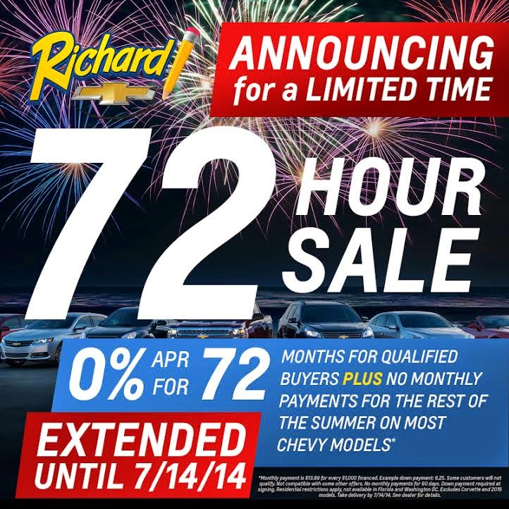 Chevrolet 72 Hour Sale EXTENDED at Richard Chevrolet