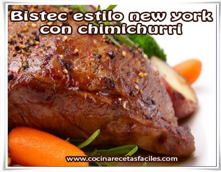 Recetas de carnes , bistec estilo New York con chimichurri