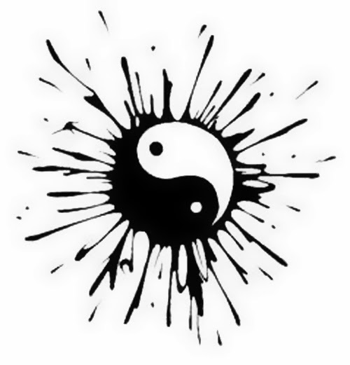 Yin Yang splash tattoo stencil