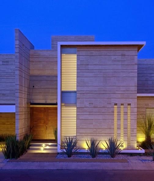 Fachada moderna con marmol navona ji studio m xico for Viviendas minimalistas