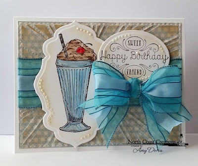 North Coast Creations Stamp set: Ice Cream Shoppe, Our Daily Bread Designs Custom Dies: Antique Labels and Border, Sunburst Background