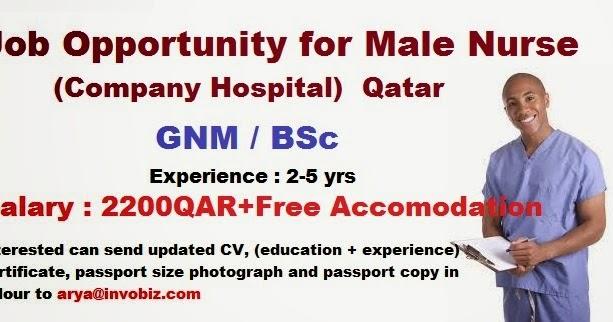 nurses job vacancy  male nurse for qatar