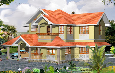 Kerala Model Sloping Roof Double Storey Home Design