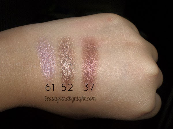 Swatch of Inglot AMC Pure Pigment Eyeshadow in #61, #52 and Inglot AMC Eyeshadow in #37