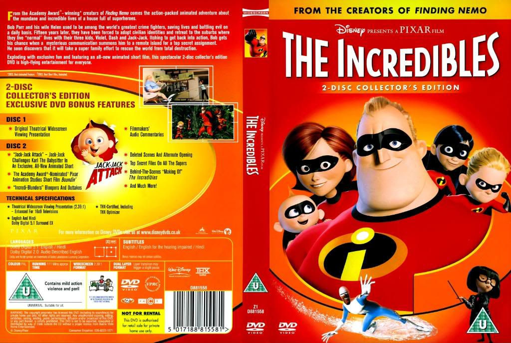 DVD cover front back The Incredibles 2004 disneyjuniorblog.blogspot.com