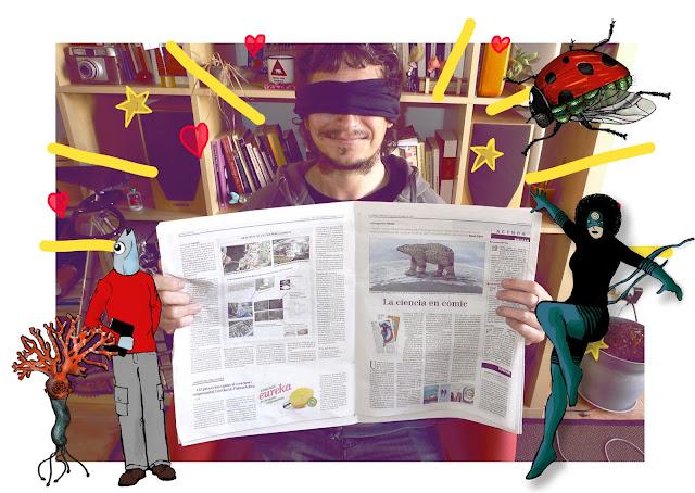 Luis Resines sostiene un ejemplar de B@aleópolis, suplemento Balear de Ciencia del periódico EL MUNDO