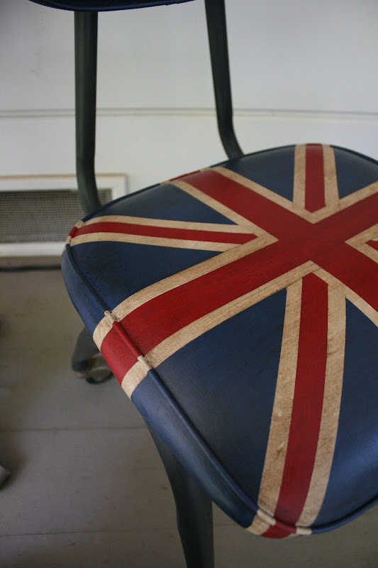 Reloved Rubbish Chalk Painted Union Jack Chair on Wheels