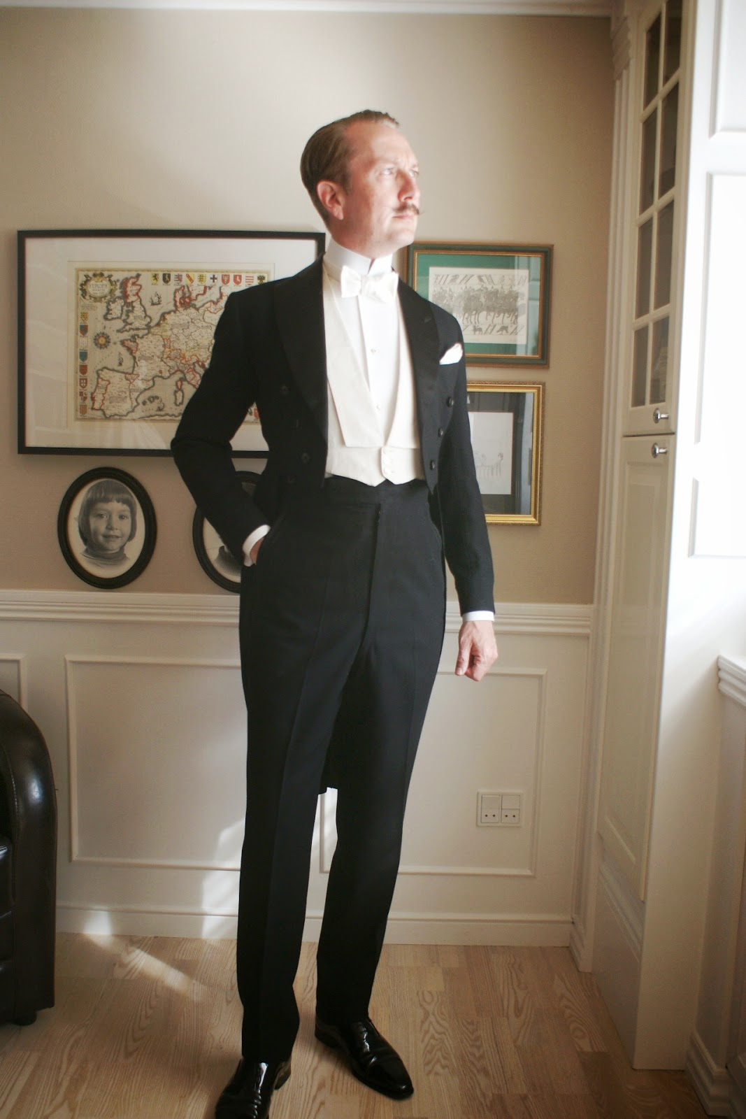 White bow tie from Drake's; Imperial collar from Darcy Clothing; and a ... Tuxedo Shirt