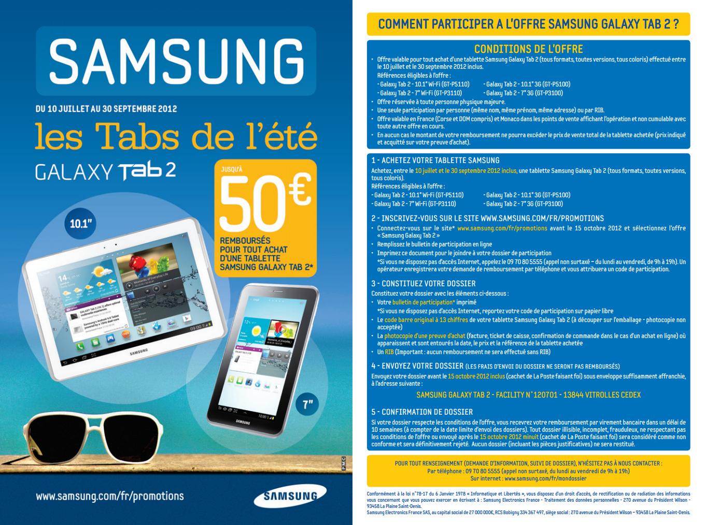 Emric93 50 euros rembours sur samsung galaxy tab 2 - Tablette samsung 50 euros ...