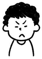 ■の表情のイラスト(怒る)白黒線画