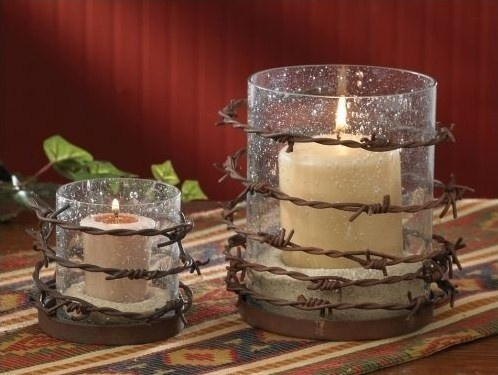 barbed wire candle holders from pine hill collections