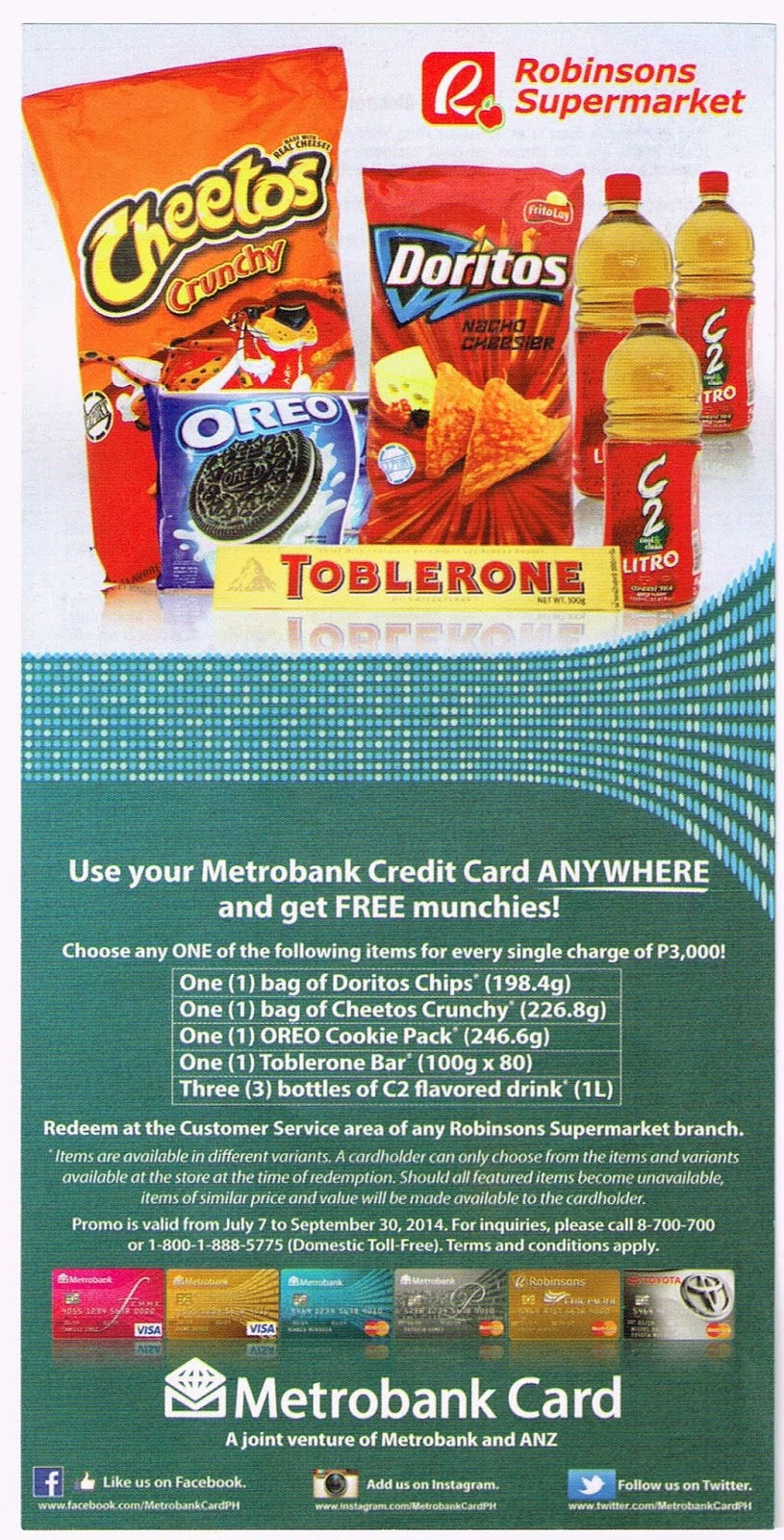 Use Your Metrobank Credit Card ANYWHERE And get Free Munchies