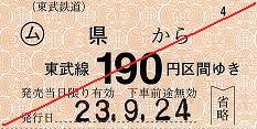 東武鉄道 常備軟券乗車券1 伊勢崎線 県駅