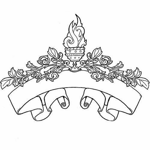 Scroll and torch tattoo stencil