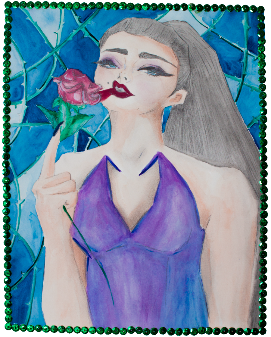 'Paint my lips the color or roses' Illustration, done using watercolors, acryla gouache, a white posca, sequins and pencil. By Rosa Martin (www.rosemarynotes.com)