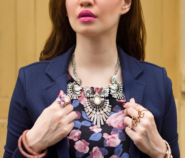 Statement Necklace, Swarovski Floral Ring, Swarovski Stardust Bracelet, Love Ring, Pink Lips