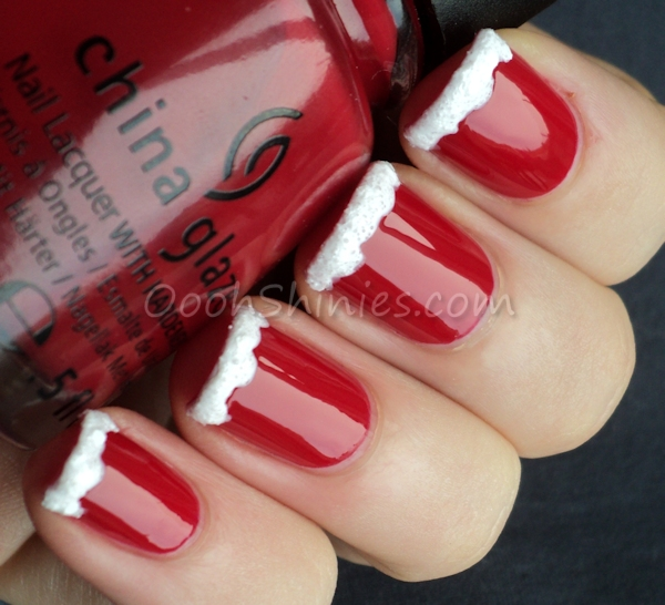 China Glaze Red Satin with China Glaze There's Snow One Like You.