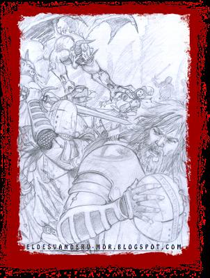 Dibujo previo hecho por ªRU-MOR para ilustración de aliado Bruda de ÉPICA: Edades Oscuras, juego de cartas de fantasía medieval y rol
