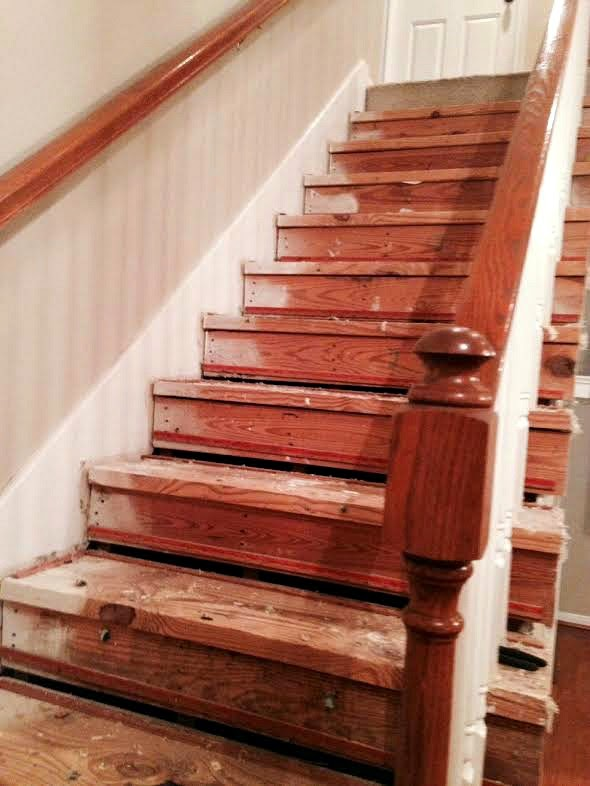 At This Point I Realized That Our Staircase Was In MUCH Rougher Shape Than  Most I Had Seen On Pinterest And Other Blogs. What The Heck Was I Going To  Do ...