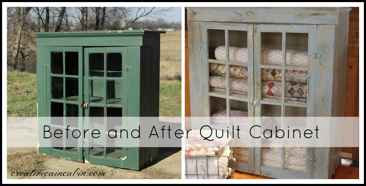 quilt cabinet makeover - creative cain cabin