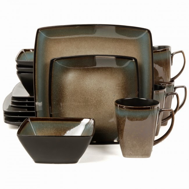 square dinnerware set 16pc taupe stoneware dishes dining