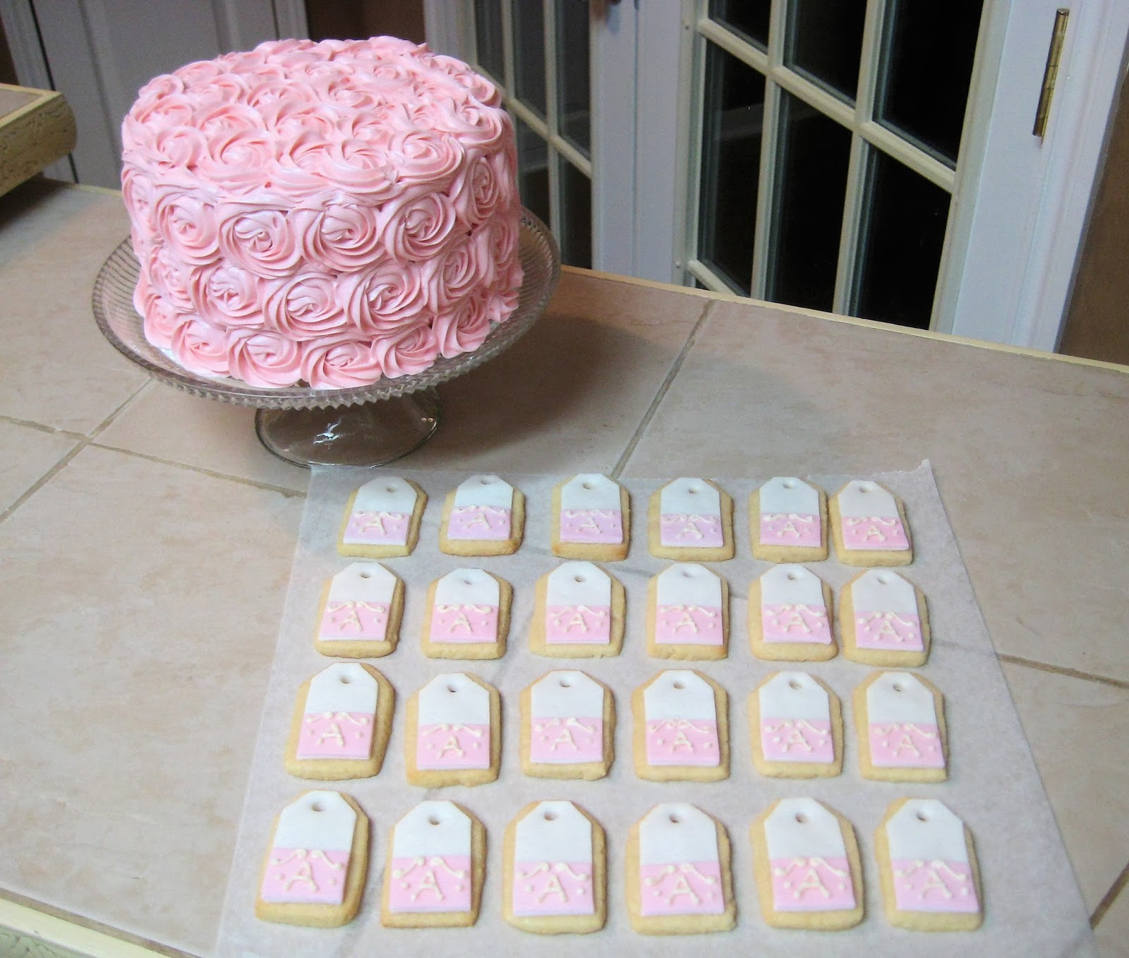 Shabby Chic Pink Rose Cake and Teabag Cookies Together 1
