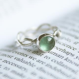 Silver sea-green tourmaline wave ring
