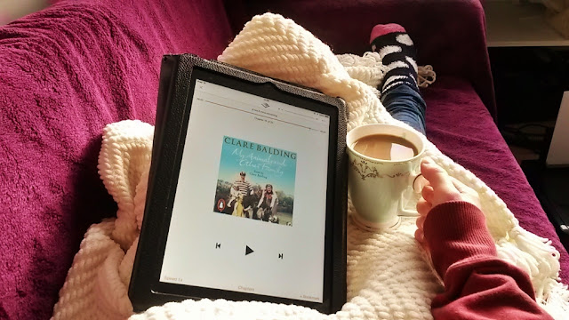 Clare Balding Audiobook on ipad and cup of coffee