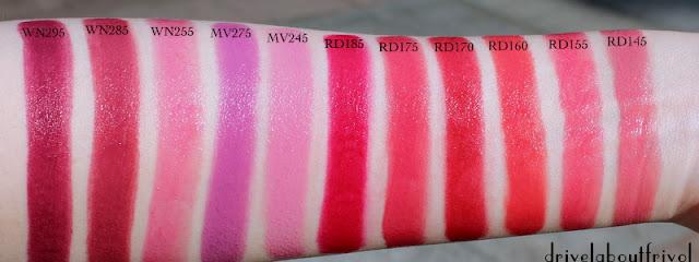 lipstick swatch Shu Uemura WN295, WN285, WN255, MV275, MV245, RD185, RD175, RD170,  RD160, RD155, RD145, WN 295, WN 285, WN 255, MV 275, MV 245, RD 185, RD 175, RD 170,  RD 160, RD 155, RD 145