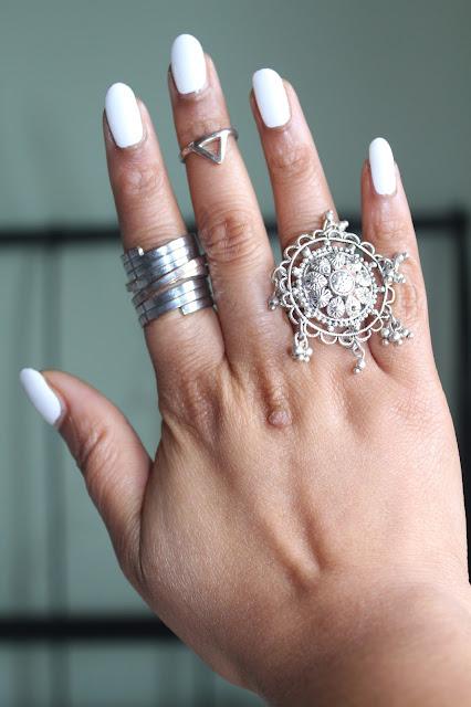 white manicure on medium skintone, revlon sure thing
