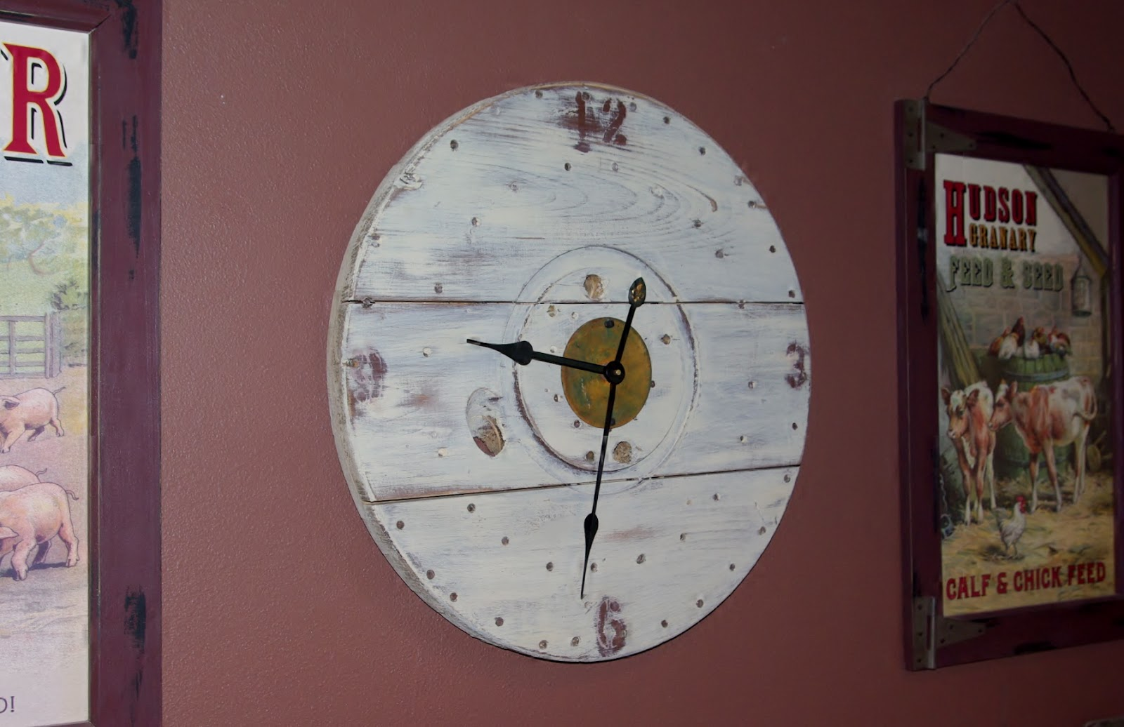 Reclaimed Rustics Wire Spool Rustic Clock