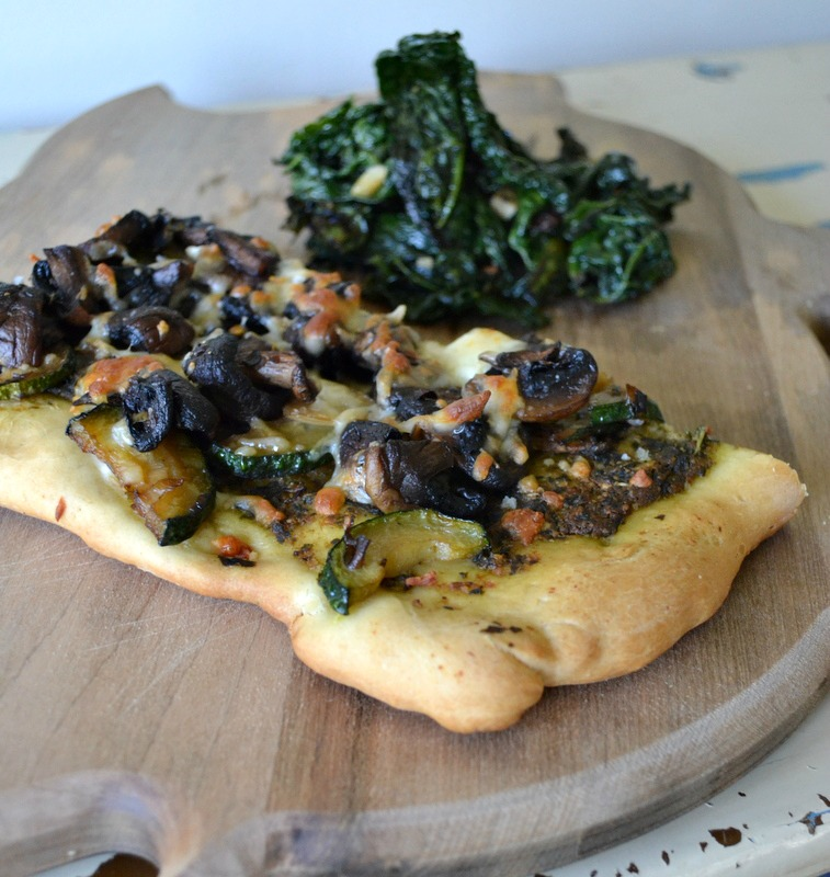 talk to food: Kale, Mushroom, Zucchini + Pesto Pizza