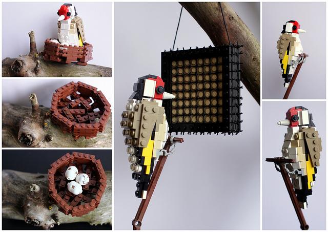 pajaros de Lego. jilguero. Goldfinch