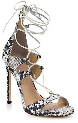 Stuart Weitzman Snakeskin lace-up high heeled sandals