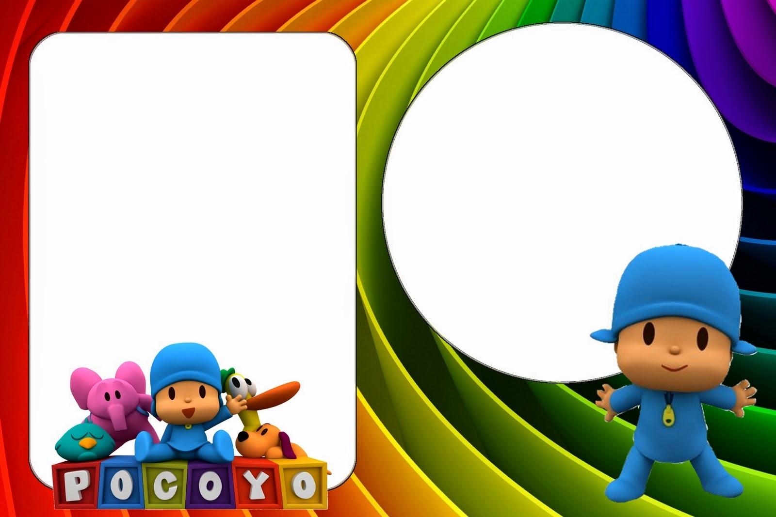 Para hacer invitaciones, tarjetas, marcos de fotos o etiquetas, de Pocoyo para imprimir gratis.