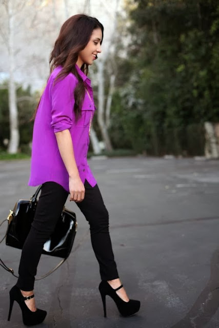 Byzantine Color Long Sleeve Shirt With Black Jeans And Black Heel
