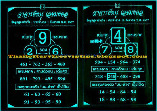 Thai Lottery Exclusive Direct sets tips paper 01-09-2014