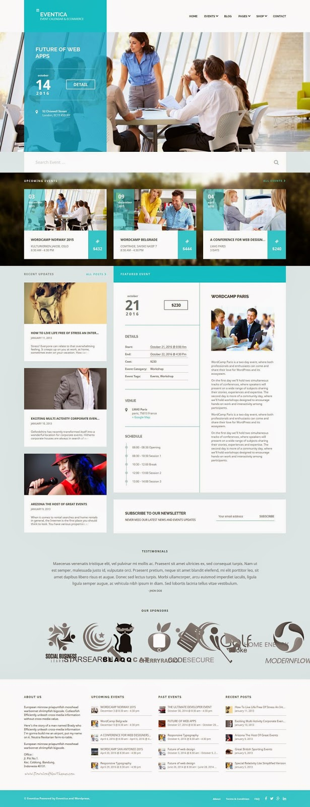 Events Listing eCommerce WordPress Theme