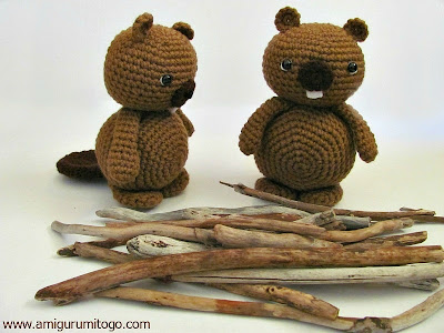 brown crochet beavers with wood