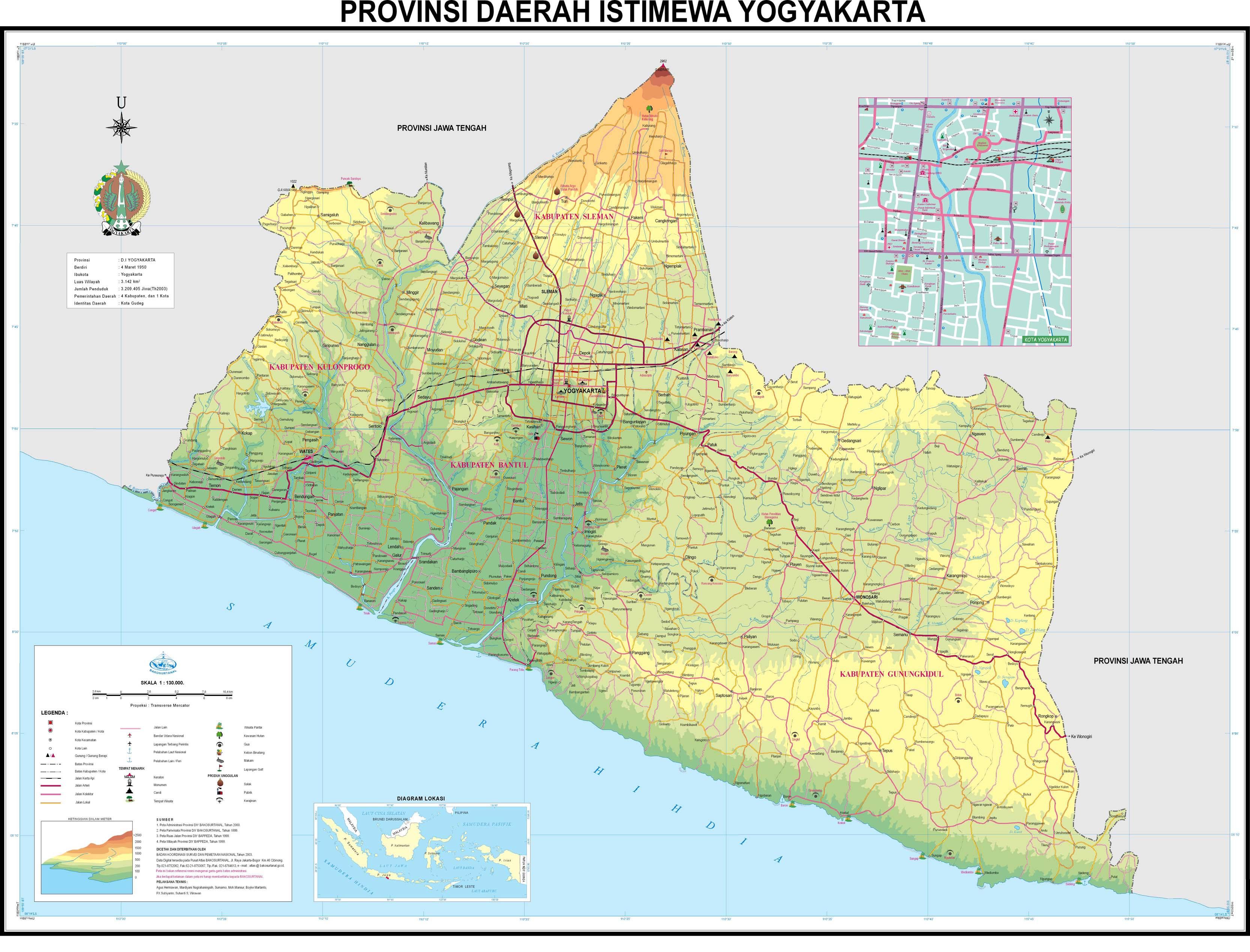 Peta Kota Provinsi Daerah Istimewa Yogyakarta Gambar Pulau Jawa Terbaru