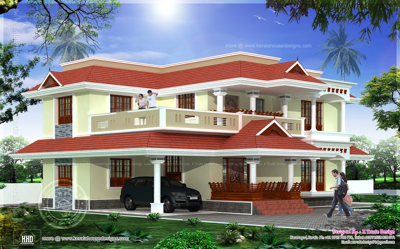 Luxury House Front Elevation : Bedroom luxury home exterior elevation kerala plans